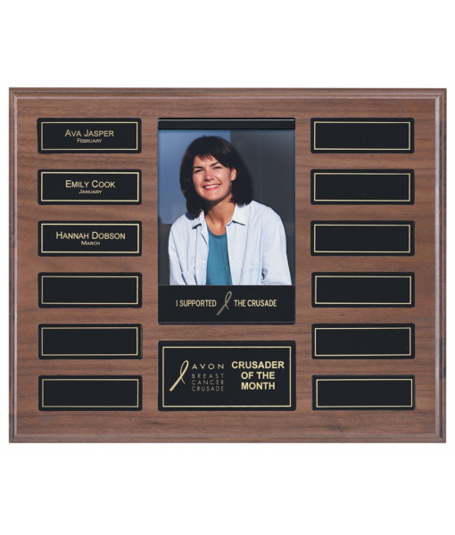 Perpetual Solid Walnut Plaque with Picture 1
