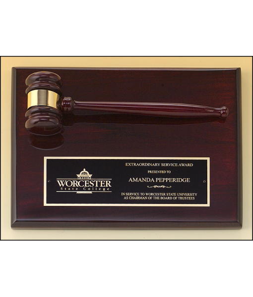 Rosewood Piano Finish Gavel Plaque 1