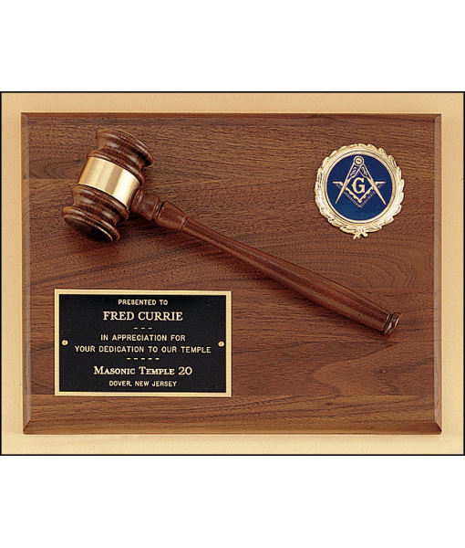 Solid Walnut Gavel Plaque 1