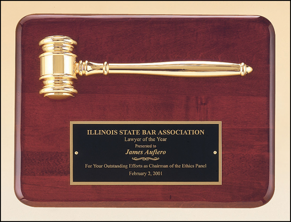 Walnut Finish Gavel Plaque